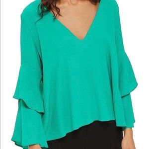 Topshop Emerald Green Double Sleeve Layer Top